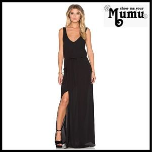 SHOW ME YOUR MUMU V-NECK MAXI GOWN DRESS